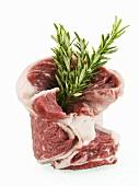 Raw Beef Rib Steak with Fresh Rosemary