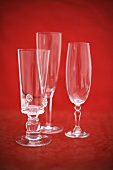 Empty sparkling wine glasses