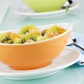 Cornflakes with kiwi fruit
