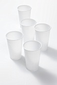 Several empty plastic cups
