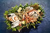 Fish and seafood in basket