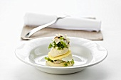 Tower of celeriac and charr with chervil and button mushrooms