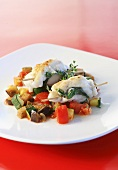 Monkfish on ratatouille