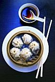Dim sum in bamboo steamer (China)