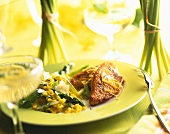 Turkey fillet with asparagus and saffron risotto