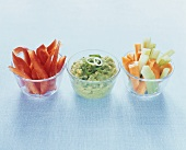 Vegetable sticks with guacamole