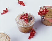 Small chocolate cakes baked in jars