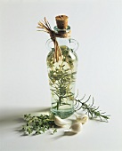 Herb vinegar in a bottle