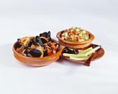 Tapas: mussels, vegetable salad, cucumber sticks & olives