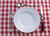 Plate, knife, fork and spoon on checked tablecloth
