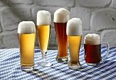 Fünf verschiedene bayerische Biersorten in Gläsern