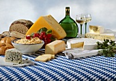 Bavarian cheeses specialities with bread and wine