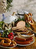 Bavarian sausages on rustic wooden board