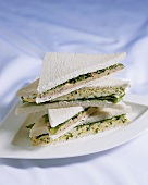 Egg and lettuce sandwiches and salmon spread sandwiches