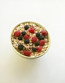 Rolled oats with fresh raspberries and blackberries