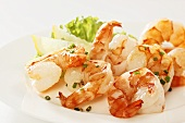 Fried prawns with snipped chives