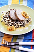 Roast pork with rice and lemon sauce