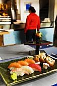 Sushi platter in a restaurant