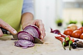 Slicing a red onion