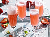 Rossini (sparkling wine cocktail) with strawberries