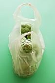 Artichokes in a plastic bag
