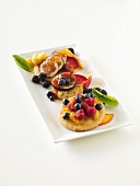 Cookies Topped with Fresh Fruit and Honey