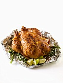 Whole Roast Chicken in Foil with Lime and Rosemary