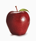 Red Delicious Apple with Leaf; White Background