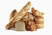 Various Breads on Black Background