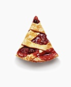 Slice of Cherry Pie; From Above; White Background