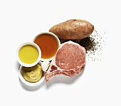 Pork Chop with Sweet Potato and Ingredients