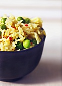 Bowl of Basmati Rice with Saffron and Peas