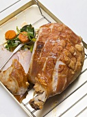 Roast pork with crackling, with vegetables