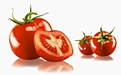 Three whole and one halved tomato with a white background and reflection