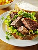 Beef steak with leaf salad on white bread