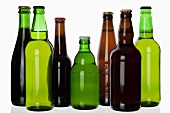 Various types of beer in bottles