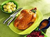 Roast goose, dumplings, red cabbage and gravy