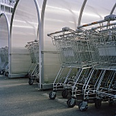 Shopping trolleys at a supermarket