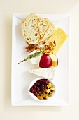 Cheese Plate with Fruit, Nuts and Bread