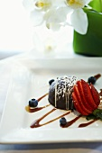 Chocolate Dessert with Strawberries and Blueberries