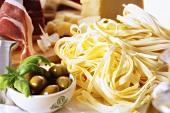 Tagliatelle, olives, Parma ham and Parmesan
