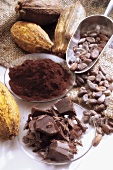 Chocolate, cocoa powder and cocoa beans