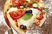 Pizza olive e pomodoro (Pizza with olives & tomatoes, Italy)