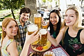 Young people in beer garden