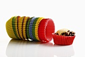 Muffin and coloured paper cases
