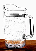 A glass jug of water