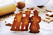 Spekulatius cookies on icing sugar