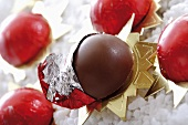 Chocolate balls in red foil (Christmas)