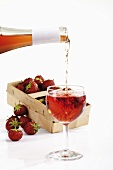 Strawberries and rosé wine