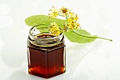 Lime blossom honey in jar